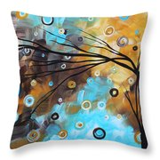 Abstract Painting Chocolate Brown Whimsical Landscape Art Baby Blues By Madart Throw Pillow