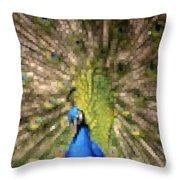 Abstract Peacock Digital Artwork Throw Pillow