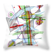Abstract Pen Drawing Forty-nine Throw Pillow