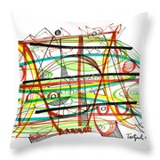 Abstract Pen Drawing Forty-seven Throw Pillow