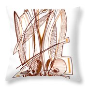 Abstract Pen Drawing Sixty-four Throw Pillow