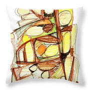 Abstract Pen Drawing Sixty-three Throw Pillow