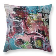 Abstract Pink Blue Painting Throw Pillow