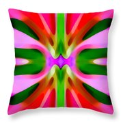 Abstract Pink Tree Symmetry Throw Pillow by Amy Vangsgard