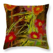 Abstract Poppies Flowers Mixed Media Painting Throw Pillow