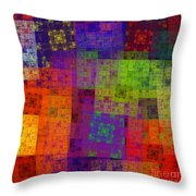 Abstract - Rainbow Bliss - Fractal - Square Throw Pillow