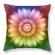 Abstract Rainbow Flower Throw Pillow