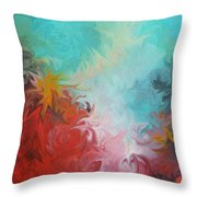 Abstract Red Blue Digital Print Throw Pillow