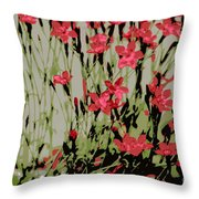 Abstract Red Flowers Throw Pillow