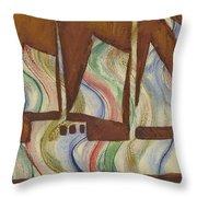 Abstract Sailboat Throw Pillow