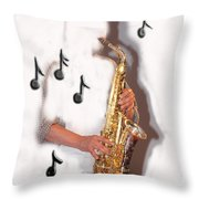 Abstract Saxophone Player Throw Pillow
