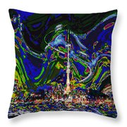 Abstract Some Where In Galaxy Light Years Away Launching A Satellite To Connect With The Earth Throw Pillow