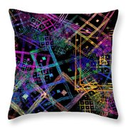 Abstract Squares Pattern Fractal Flame Throw Pillow by Keith Webber Jr