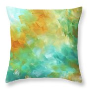 Abstract Textured Decorative Art Original Painting Gold And Teal By Madart Throw Pillow