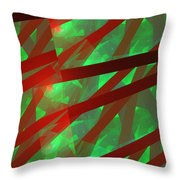 Abstract Tiled Green And Red Fractal Flame Throw Pillow