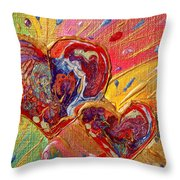 Abstract Valentines Love Hearts Throw Pillow by Julia Apostolova
