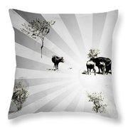 Abstract Vintage Cows Throw Pillow