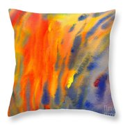Abstract Watercolor Painting With Fire Flames Throw Pillow