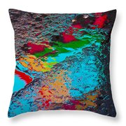 Abstract Wet Pavement Throw Pillow