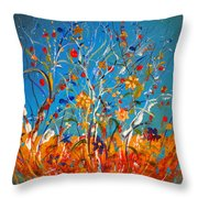Abstract Wildflowers Throw Pillow