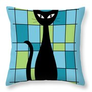 Abstract With Cat In Blue Throw Pillow