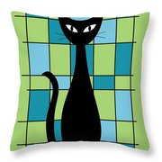 Abstract With Cat In Green Throw Pillow