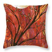 Abstract Wood Pattern Painting Original Landscape Art Moon Tree By Megan Duncanson Throw Pillow