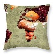 Abstract World Map - Harvest Bounty - Farmers Market Throw Pillow