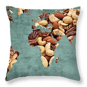 Abstract World Map - Mixed Nuts - Snack - Nut Hut Throw Pillow
