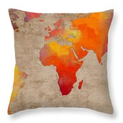 Abstract World Map - Rainbow Passion - Digital Painting Throw Pillow