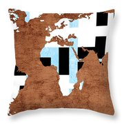 Abstract World Map - Which Way Is Up - Painterly Throw Pillow