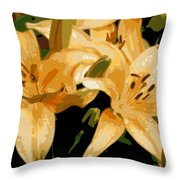 Abstract Yellow Asiatic Lily - 1 Throw Pillow