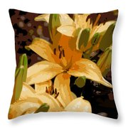 Abstract Yellow Asiatic Lily - 2 Throw Pillow