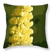 Abstract Yellow Lupine Throw Pillow