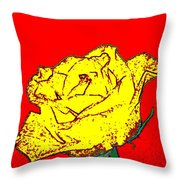 Abstract Yellow Rose Throw Pillow