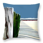 Abstracted Beach Dune Fence Throw Pillow