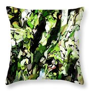 Abstraction Green And White Throw Pillow