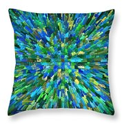 Abstrract Cubes Blue Throw Pillow