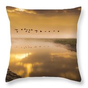 Geese Over The River Throw Pillow