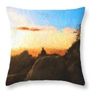 Acadia Bass Harbor Head Lighthouse Silhouette Throw Pillow