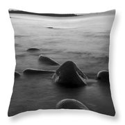 Acadia National Park Shoreline Sunrise Wakeup Black And White Throw Pillow