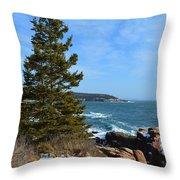 Acadian Shores In Winter Throw Pillow