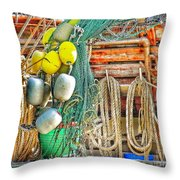 Accessories To Shrimp Catching Throw Pillow