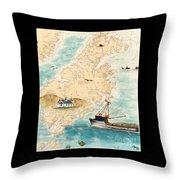 Accomplice Kodiak Crab Fishing Boat Cathy Peek Nautical Chart Map  Throw Pillow