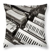Accordions Throw Pillow by Mary Lee Dereske