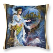 Achaemenian Lady Persian Miniature Painting  Throw Pillow