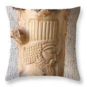 Achaemenian Soldier Relief Sculpture Wood Work Throw Pillow by Persian Art