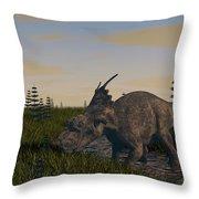 Achelousaurus Grazing In Swamp Throw Pillow