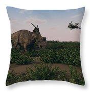 Achelousaurus Walking Amongst Swamp Throw Pillow
