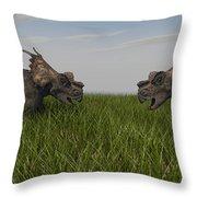 Achelousauruses Confrontation In Swamp Throw Pillow